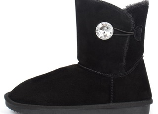 Угги женские замша с кристаллом Bailey Button Bling Black