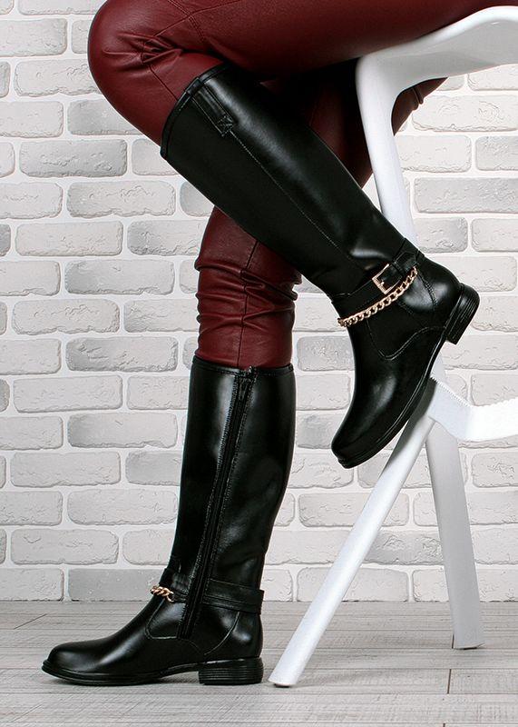 4e5e1eb9764e0a Чоботи жіночі гумові високі чорні на блискавці Beauty Girls з ланцюгом фото  7 — інтернет-. prev