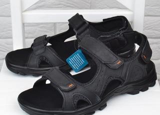 41ff7965c9999b Сандалі чоловічі шкіряні спортивні Restime in black чорні на липучках