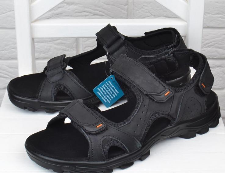 10a7d33eefb7 Сандалии мужские кожаные спортивные Restime in black черные на липучках  фото 2 — интернет-магазин