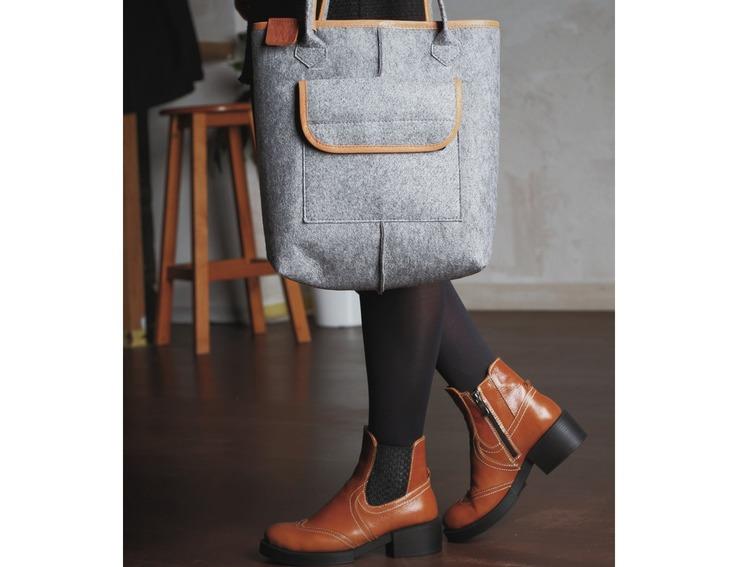 f9b225f9f220 Войлочная сумка-авоська со вставками рыжего цвета фото 10 — интернет-магазин  Tapok
